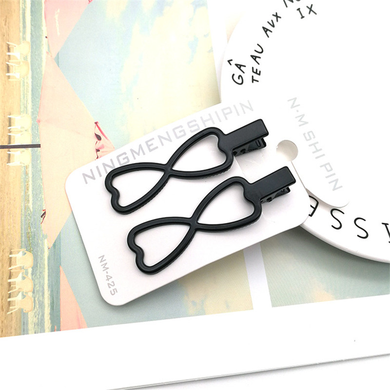 Korean fashion Popularity Simple heart Hairpins Black Alloy Clip Bobby Pin Rabbit Hair Accessories Headwear Ball Tip Bob Pins in Hair Jewelry from Jewelry Accessories