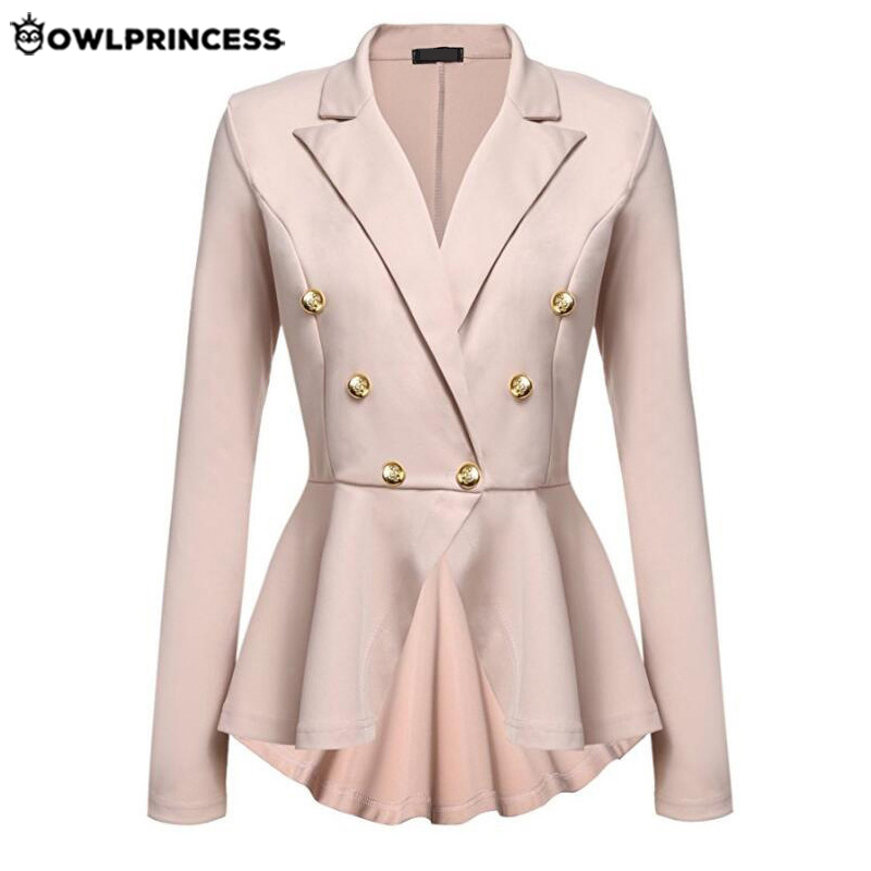 Daily Suit OLWPIRNCESS Slim Blazers Women Suit Jacket Work Office Suit Black Double Button Business Blazer Coat Elegant Femme
