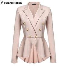 Daily suit OLWPIRNCESS Slim Blazers Women Suit Jacket Work Office Suit Black Dou