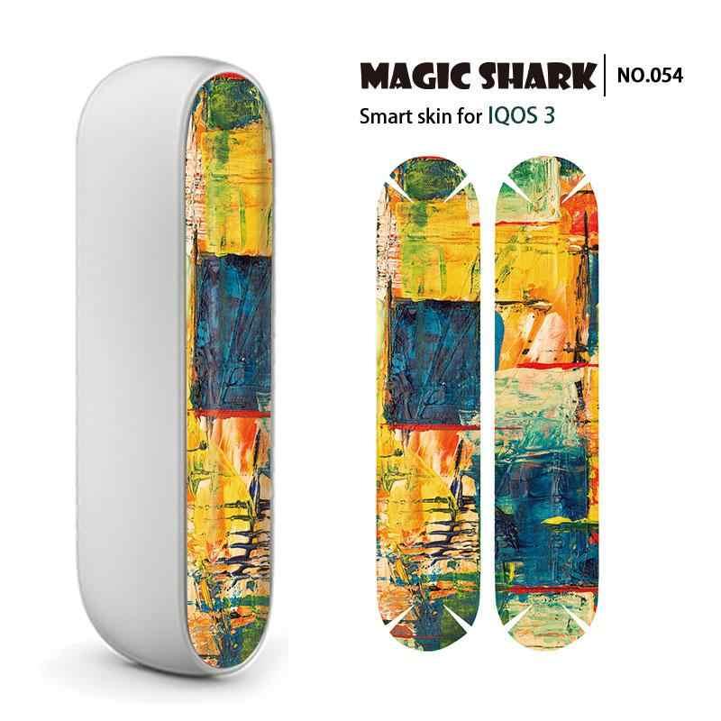 Magic Shark Leopard Painting Case Cover E Cigar Wrap  Fashion Leaf Floor Print Vape Sticker Skin for IQOS 3 3.0 051-066