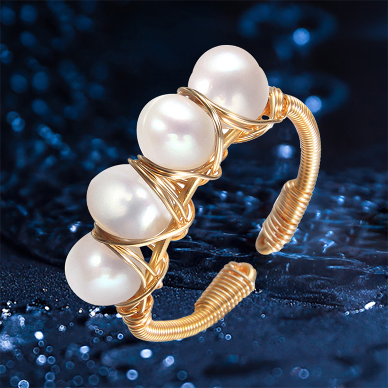 Pearl Ring Natural Pearl Handmade Baroque Pearl Jewelry Opening Creative Design Pearl Rings For Women Party Gift Fine Jewelry