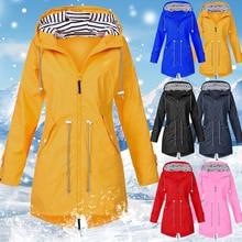 Women Windproof Long Hooded Jackets Waist Tightening With Zip Thin Outwear Multi