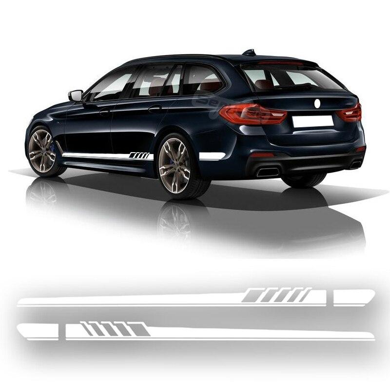 2Pcs Car Side Skirt Stripes Stickers Body Vinyl Decal For BMW X1 X3 X5 X6 1 3 5 7 Series E90 E46 E39 F30 F34 Car Accessories