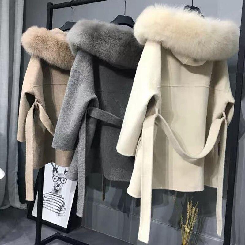 Кашемировая куртка Женская Ручная работа женская лисий меховой воротник шерстяное пальто повседневная Зимняя шерстяная куртка шерстяное