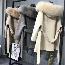 Cachemire veste femmes dames fait à la main femmes renard fourrure col laine manteau décontracté hiver laine veste laine pardessus cachemire manteau