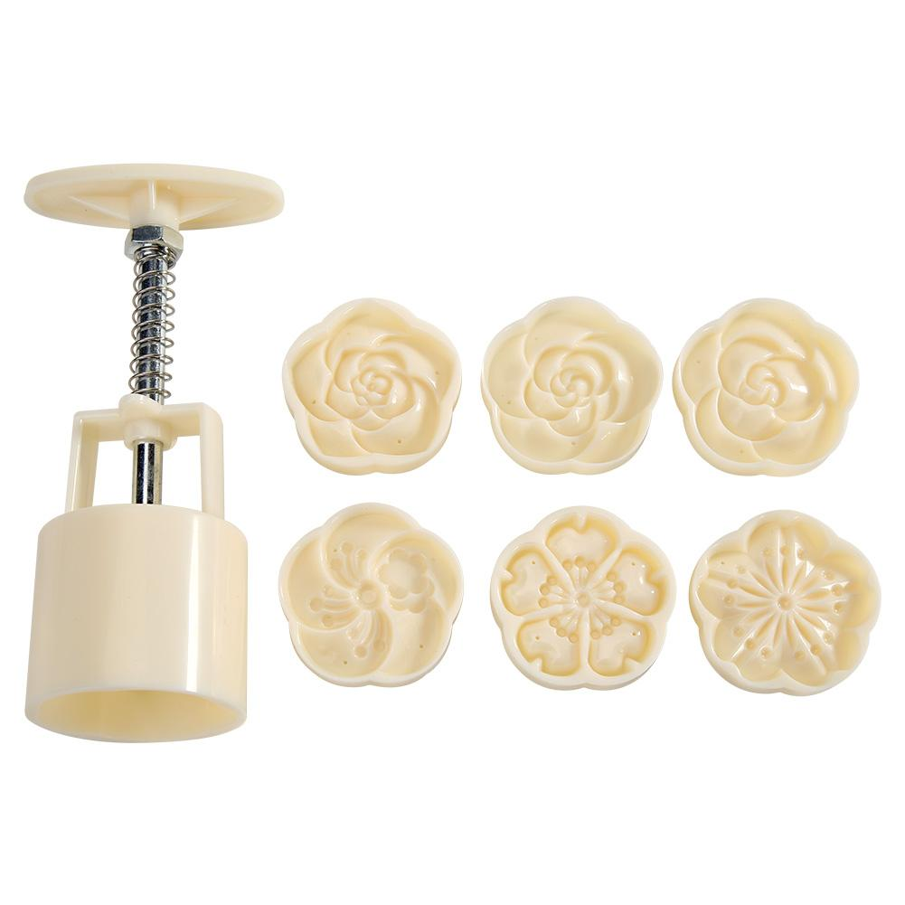 6 Patterns Ice Skin Mooncake Moulds Flower Fruits Hand Pressure DIY Biscuit Mold Round Cutter Set Cake Baking Accessories