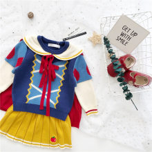 Autumn and winter dress new baby girl dress princess cloak girl knitted sweater skirt suit(China)