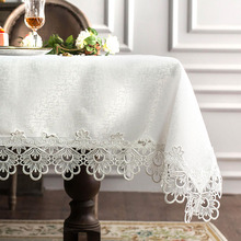Fabric table cloth mat European white embroidered tablecloth round edge furniture sets lace