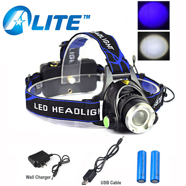 TMWT Super Bright CREE XML T6 LED Headlamp Uv And Normal Beam Zoomable 18650 Head Lamp Usb