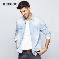KUEGOU 2019 Autumn 100% Cotton Pocket Denim Shirt Men Dress Casual Slim Fit Long Sleeve For Male Wear Fashion Brand Blouse 6211