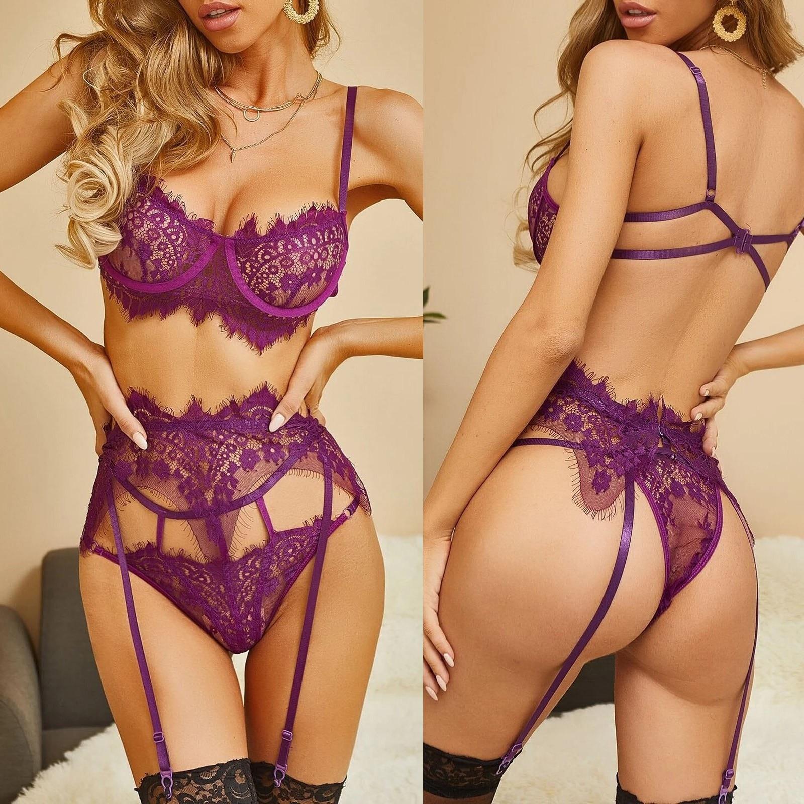 Lingerie erótica sexy conjunto feminino plus size cílios rendas oco-para fora roupa interior pijama garter bielizna damska sutiã calcinha tentador a