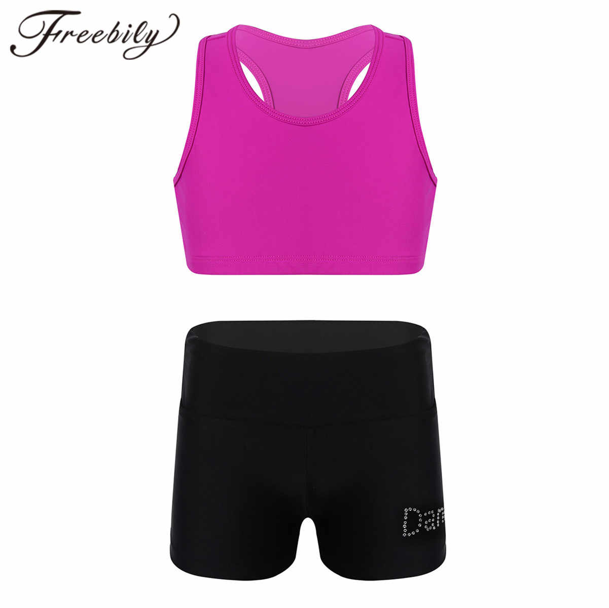 Freebily Kids Girls Workout Yoga Athletic Sweatsuits for Gymnastic Active Leggings Pants with Crop Top Sports Outfit