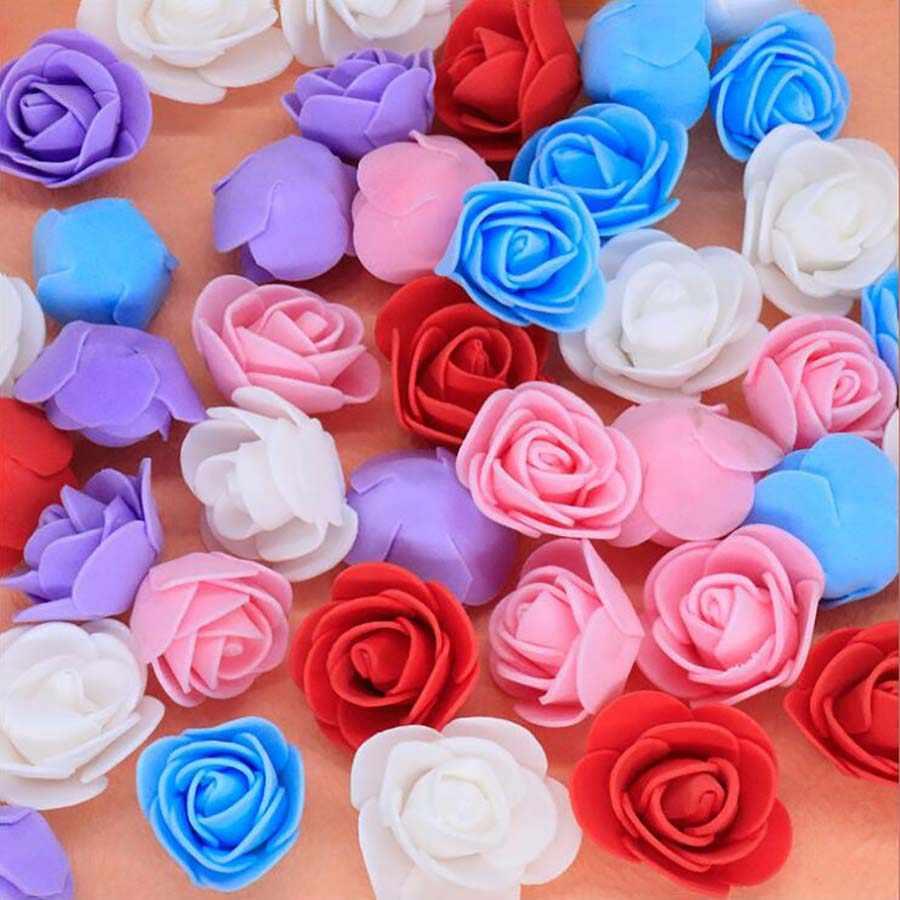50pcs PE Barato Mini Flores Artificiais para Casa Deco Acessórios Do Casamento Falso Foma Ursos Recados Decorações de Natal Diy