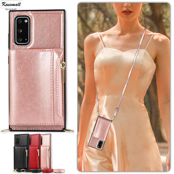 Zipper Lanyard Wallet Case For Samsung Galaxy S9 S10 E S20 Ultra Note 9 10 Plus A90 5G Leather Flip Mobile Phone Bag Cover Coque