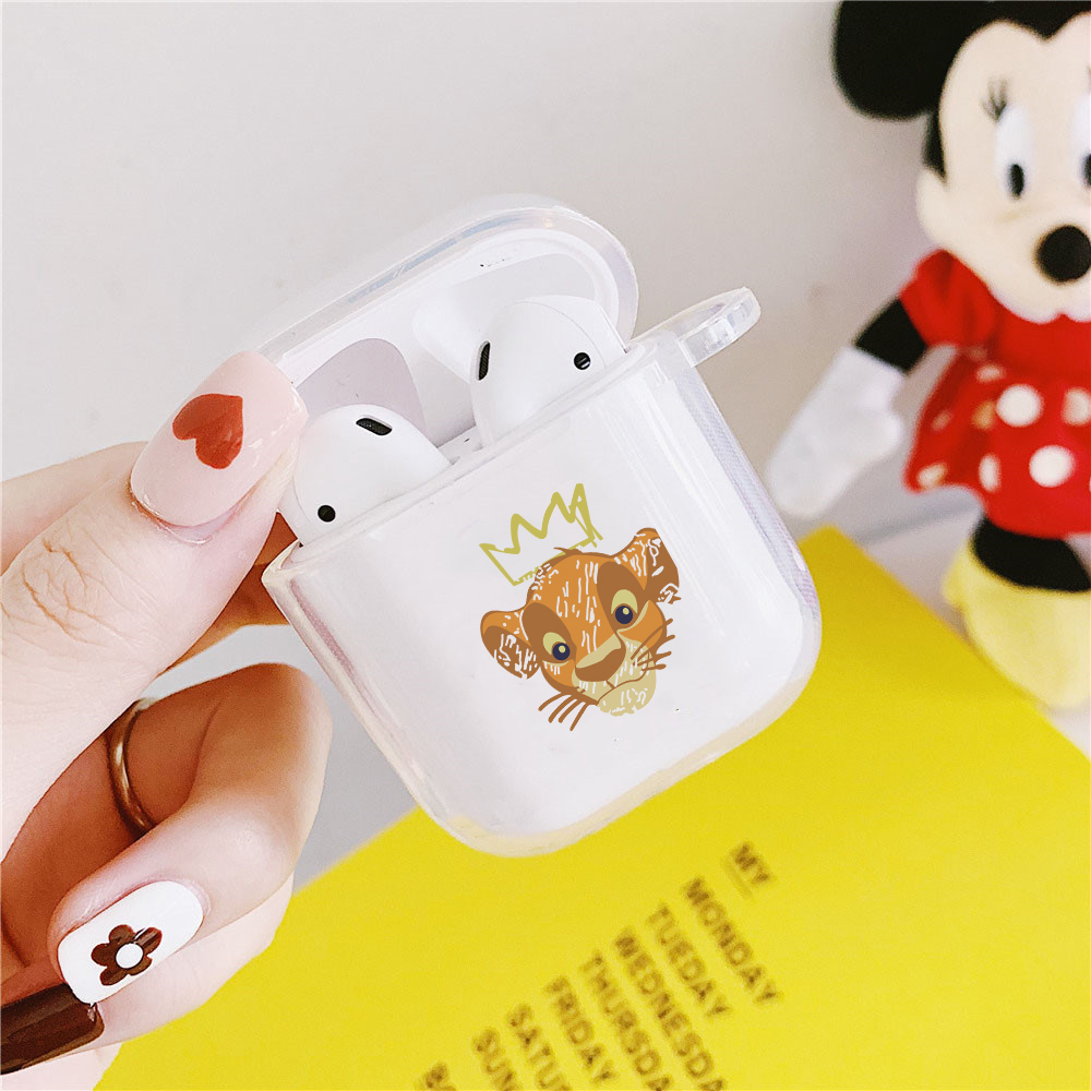 Cartoon Lion King Clear Earphone Case For Apple AirPods 2 1 Soft Transparent Protective Cover Animal Pattern Charging Box Coque