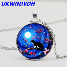 2019 new star cat crystal round blue moon necklace, necklace private order