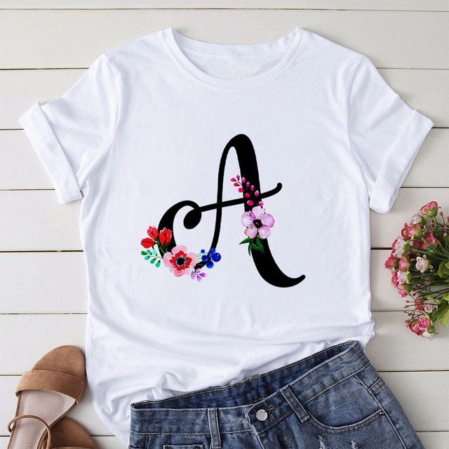 Summer Letter Printed Women T shirt Woman Harajuku Short Sleeved O Neck Tees Shirt Girl Summer