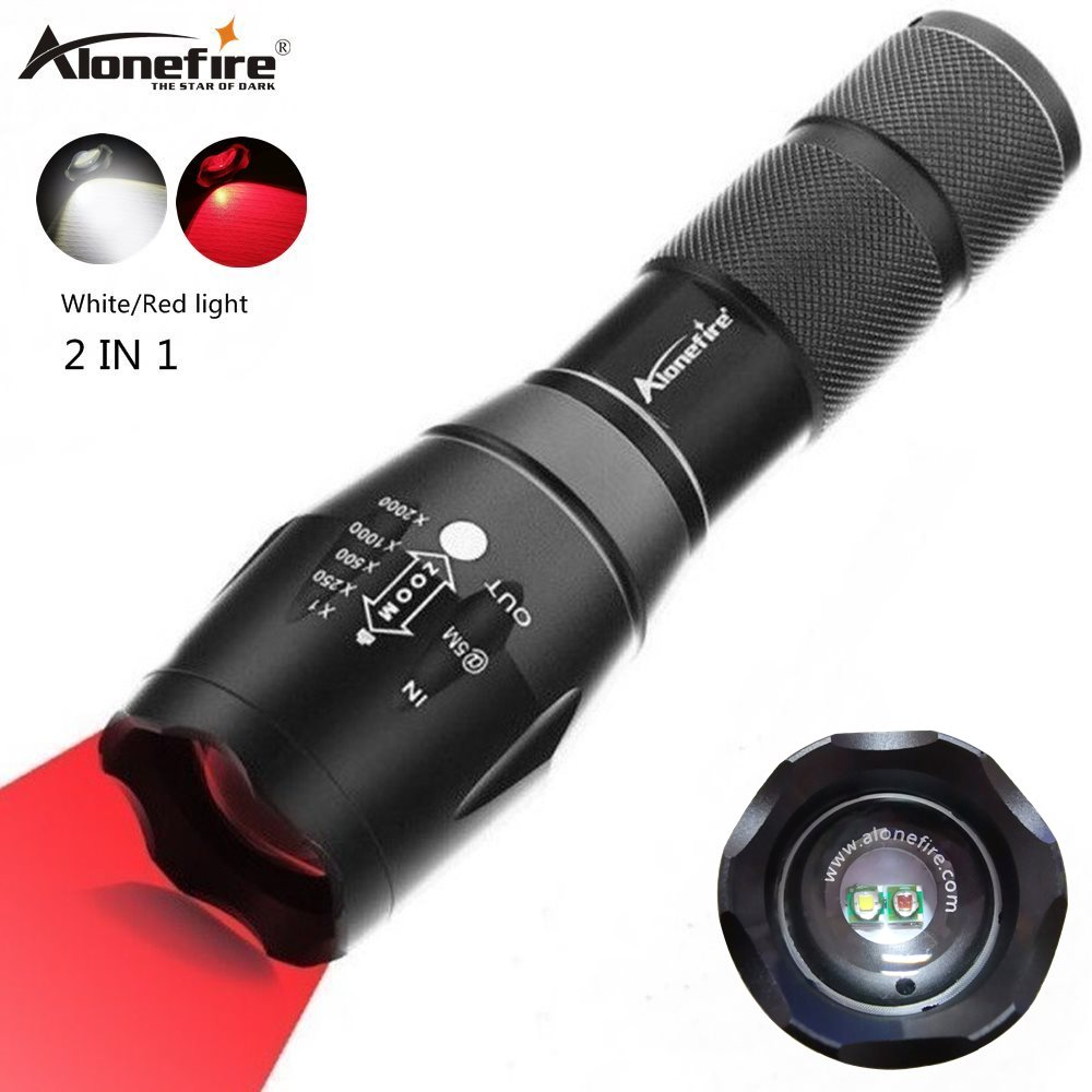 Alonefire G700-WR 2in1 White+red Light Super Bright Led Flashlight Zoomable Tactical Torch Button For Hinking Camping