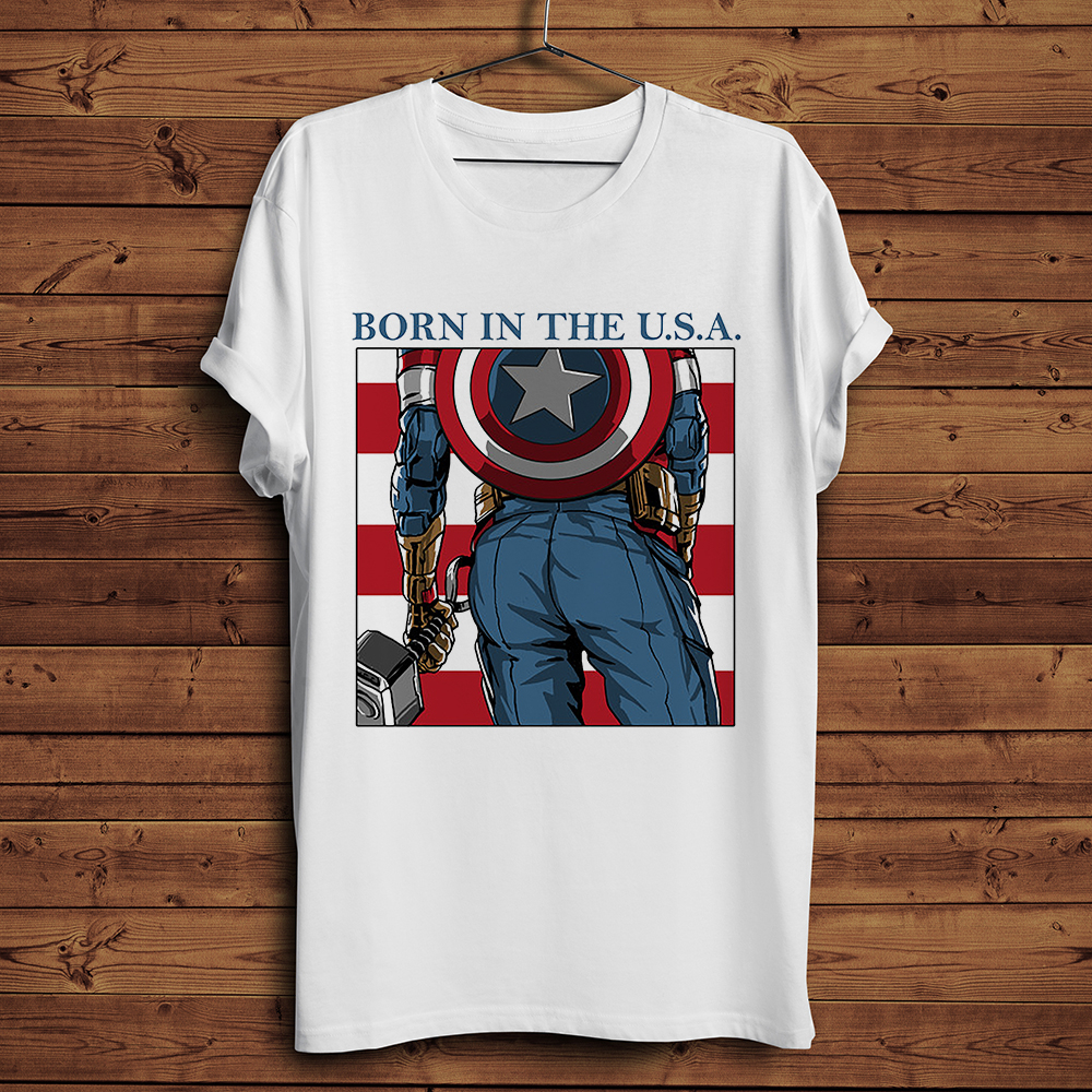 captain America Ass funny Japan anime t-shirt men new white casual homme tops tees TShirt hipster streetwear t shirt image