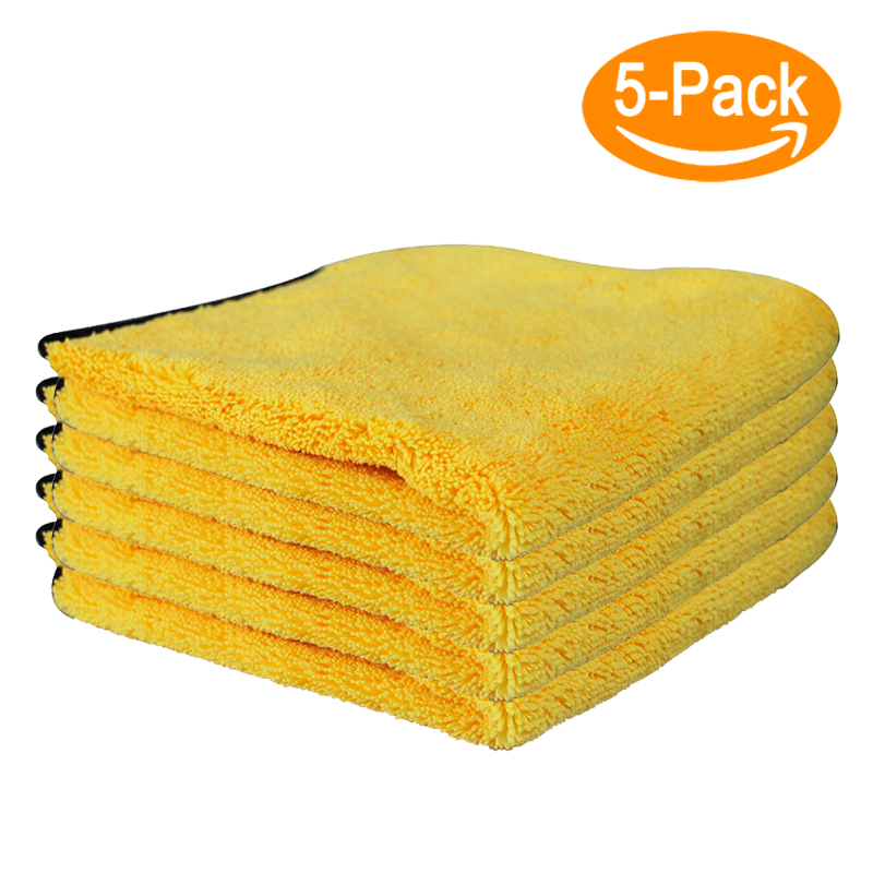 Rantion 30*30cm Microfiber Cleaning Cloth Auto Care Wash Towel Car Quick Drying Cloth Coral Fleece Two-sided Super Absorbent Tow
