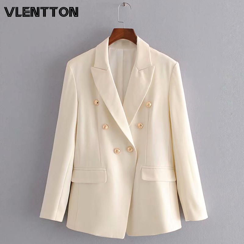 Spring Autumn New Women Blazers And Jackets Metal Button Double Breasted Solid Suit Coat Female Tops Office Lady Blazer Feminino