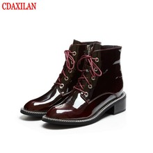 CDAXILAN new women's short boots genuine cow patent leather cross-tied  square low-heels side zipper ankle boots ladies autumn цены онлайн