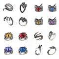 Винтажное кольцо Для панка для Мужчин, Ювелирные изделия, регулируемые кольца в виде животных, кольца с красочными глазами дьявола, подарки ...