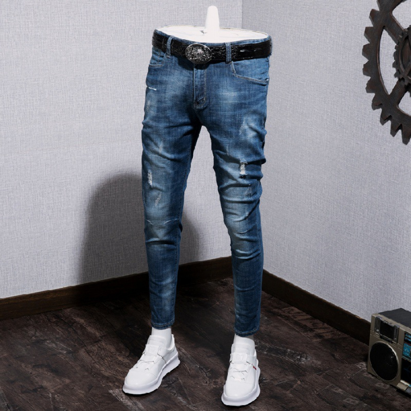 New Style Elasticity Jeans Men's Slim Fit Pants Capri Pants Trend Of Fashion Ripped Pants [QQ Group: 58411717