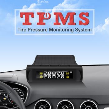 Inteligentny System monitorowania ciśnienia w oponach TPMS cyfrowy wyświetlacz LCD systemy alarmowe w samochodzie ciśnienie w oponach tanie i dobre opinie KKMOON CN (pochodzenie) Tyre Pressure Monitormm Systemy alarmowe i bezpieczeństwa 185g Tyre Pressure Monitoring System