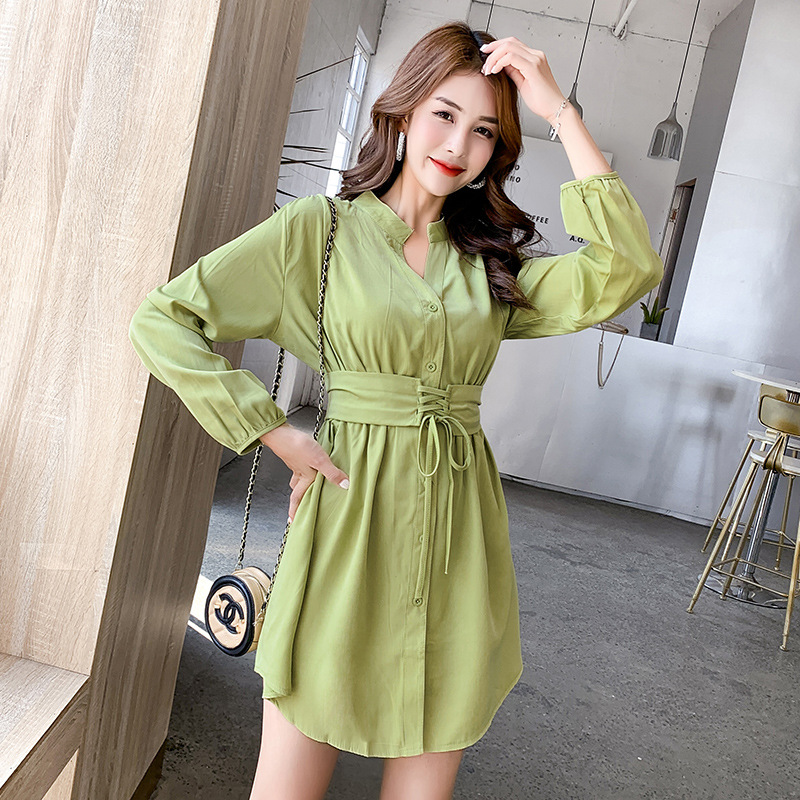 Autumn Clothing New Style Korean-style Long Sleeve Bandage Cloth Dress Women's Immortal Slimming Short-height Green Short Skirt