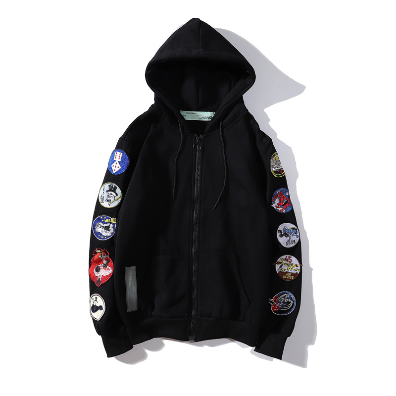 Off Embroidery Badge Hoodie Europe And America Popular Brand Ow Loose-Fit Coat Men And Women Couples Autumn And Winter Men's Swe