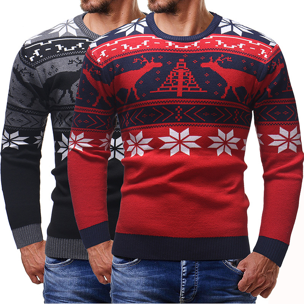 New Year Christmas Sweater Men Fall Winter Knitted Deer Jumper Pullover Sweater Mens Long Sleeve Warm Casual Sweater Tops