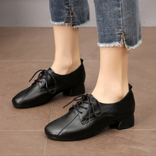 Spring Women Shoes New Genuine Leather Women's Flat Shoes Pointed Toe Thick Heels Fashion Lace Up Women Shoes Large Size 34-43