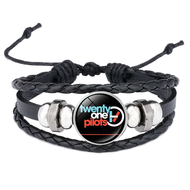 Twenty One Pilots Leather Bracelet Punk Music Band Sign Glass Cabochon Multi Layered Braided Cord For Men Women