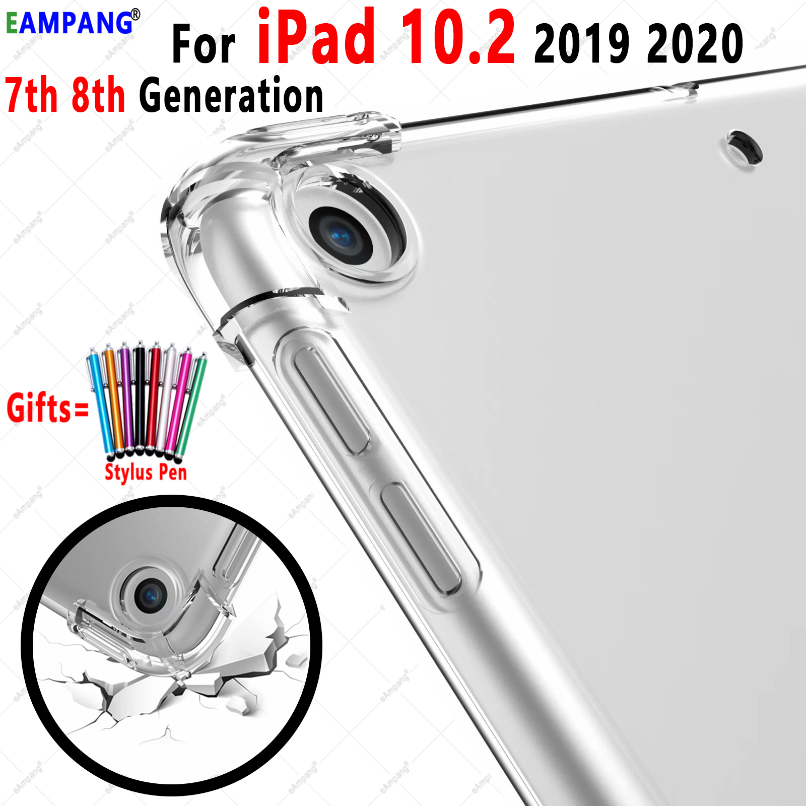 For iPad 10 2 Case Drop Resistance Soft TPU Silicon Cover for Apple iPad 10 2