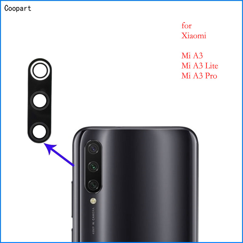 2pcs/lot Coopart New Camera Lens Back Camera Glass Lens For Xiaomi Mi A3/ A3 Lite/ A3 Pro MiA3 With Sticker Top Quality