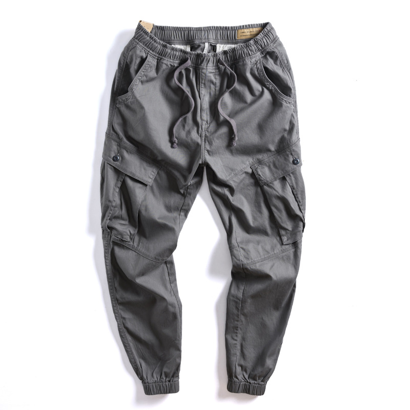 Workwear Ankle Banded Pants Men's Fashion Reticulate Texture Cotton Elastic Breathable Elastic Waist Bags Loose-Fit Stereo Casua