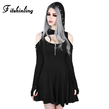 Fitshinling Rivet Hooded Gothic Dress Cut Out Open Shoulder Short Dresses Women Goth Dark Slim Black A Line Harajuku Vestidos