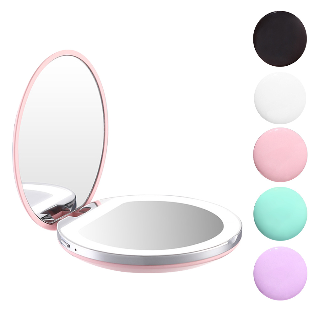 Portable Travel Makeup Mirror Round Magnifying With LED Lights For Beauty Cosmetic Black/Pink/White/Purple/Green