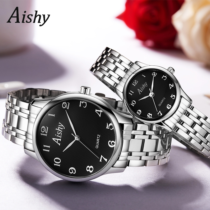 Couple Watch Hot Sale Stainless Steel Wirstwatch Good Quality Waterproof 3ATM IP Plating Fashion Watch Aishy LOGO