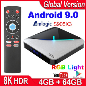 Image 1 - A95X F3 Air Smart TV BOX Android 9.0 Amlogic S905X3 4GB 64GB 32GB Wifi 4K Youtube 2G 16G Set top Box 8K RGB Light Android TV Box