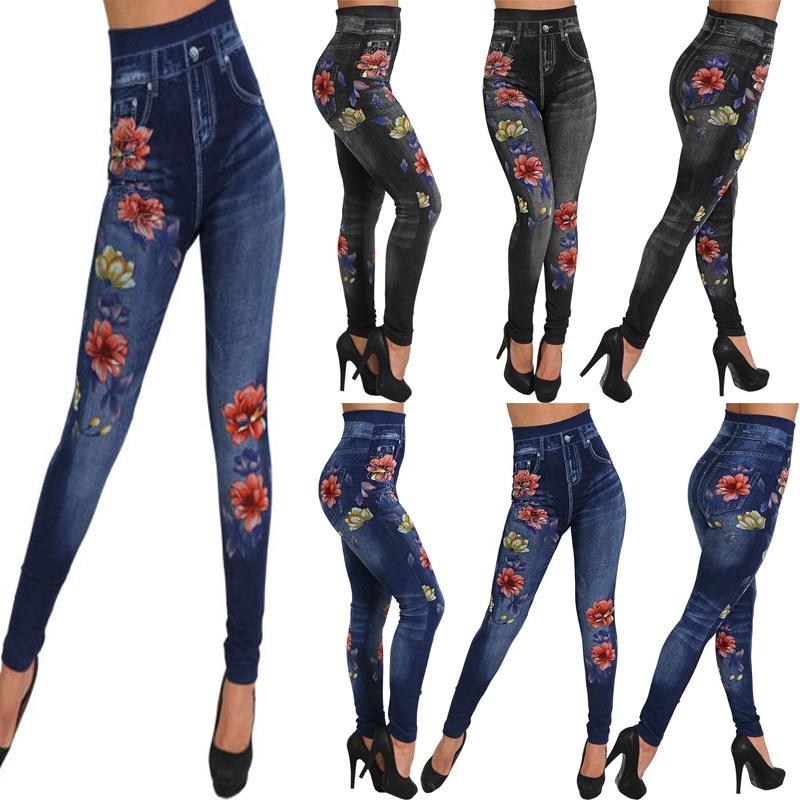 3XL   leggings   flower girl   leggings   seamless cotton imitation denim   leggings     leggings   pants