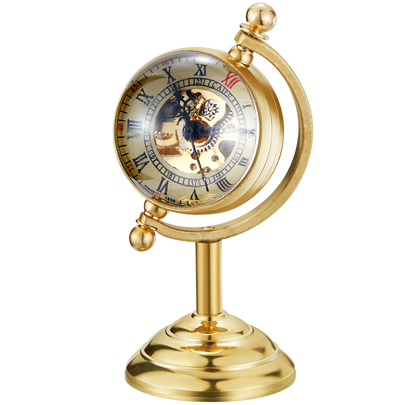 Vintage Hand Winding Mechanical Pocket Watch Transparent Spinning Globe Design Watches Luxury Gold Clock Reloj De Bolsillo