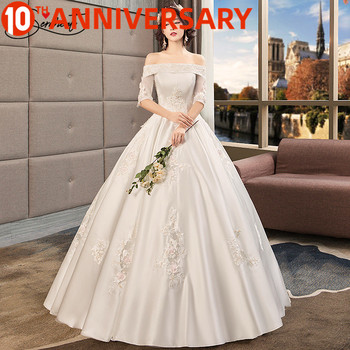 цена на OllyMurs Luxury Wedding Dress Off The Shoulder Design Princess Floor-Length Ball Gown Back Lace Up Free Custom Made Plus Size