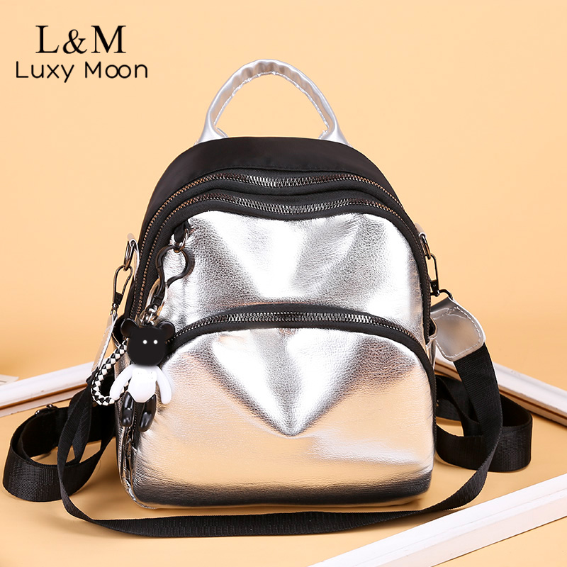 Women Mini Silver Backpack School Bags PU Leather Bag Female Silver Backpacks Teenage Girls Shoulder Bags Rivets Mochila XA462H