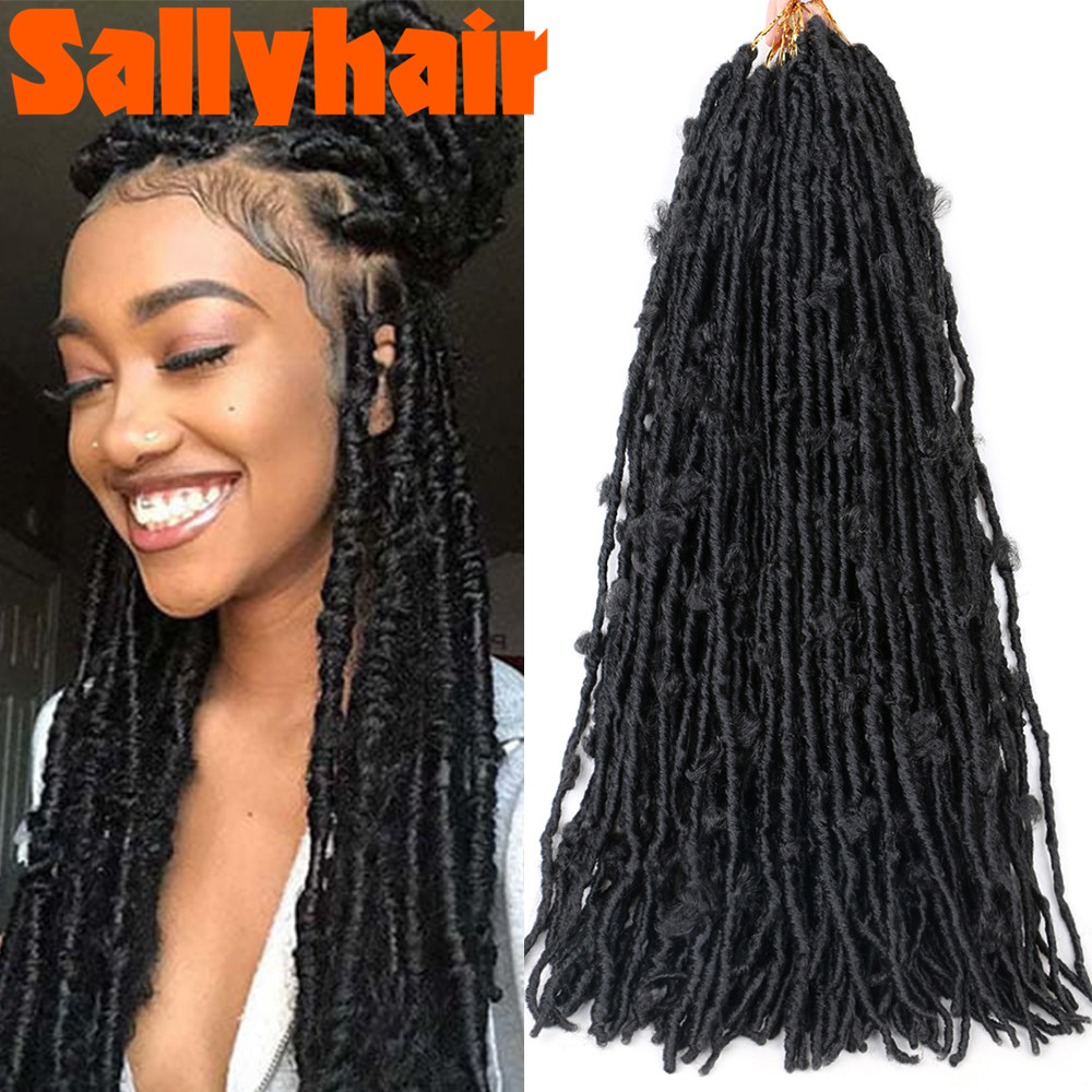 Sallyhair 18inch Butterfly Curly Faux Locs Crochet Braids Hair Extensions 12 Strands/pack Natural Black Braiding Hair Synthetic