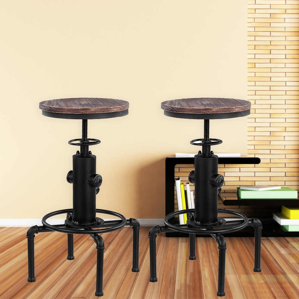 IKayaa โลหะอุตสาหกรรมบาร์สตูลความสูงปรับหมุน Pinewood TOP เก้าอี้รับประทานอาหารห้องครัวท่อสไตล์ Barstool พร้อมที่วางเท้า