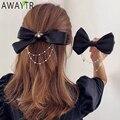AWAYTR Neue Bogen Perlen Kette Barrettes Haarnadeln Für Frauen Strass Frühling Haar Clips Band Stirnband Pferdeschwanz Haar Zubehör