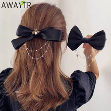 AWAYTR New Bow Pearls Chain Barrettes Hairpins For Women Rhinestone Spring Hair Clips Ribbon Headband Ponytail Hair Accessories