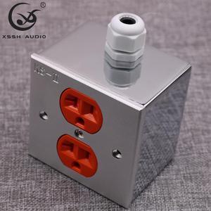 Image 1 - 2 * US KS II # złącze zasilania Hi end DIY HIFI miedzi pozłacane 20amp 20A 125V aluminium pudełko na talerze gniazdo zasilania gniazdko elektryczne